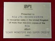 David Bowie Bpi Award Gold Disc Scary Monsters And Super Creeps 1980