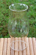 Vintage Crystal Clear Glass Hurricane Lamp Replacement Shade 8 1/2 Tall Lqqk