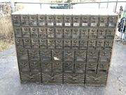 Antique Us Post Office Metal Cabinet Mail Box 56 Boxes American Eagle