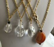Semi-precious Nugget Pendants On Gold Plated Cable Chains