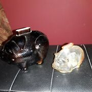 2 Vintage Anchor Hocking Glass Piggy Bankslarge And Small