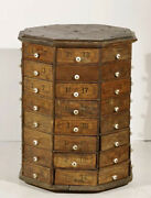 Antique 1895-1905 Oak Rotating 64 Drawer Hardware Cabinet Counter Top Chest