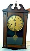 Antique 1960s Westminster 33 Pendulum Clock Chime Wood Case Glass Germany W/key
