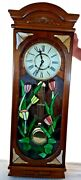 Antique 70's 37 Pendulum Clock Chime Wood Style Stained Glass Front Key