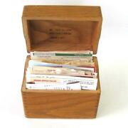 Vintage Handwritten And Clipped Recipes In Oak Wood Recipe Box File