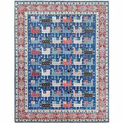8'x9'10 Blue Special Kazak Ancient Animals Design Hand Knotted Wool Rug R60719