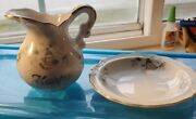 Lefton China Happy Anniversary Creamer And Bowl Gold Trim 1155 Floral And Bells