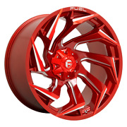20 Inch Red Rims Wheels Fuel Reaction D754 20x10 6x5.5 135 Lug Chevy Ford Dodge