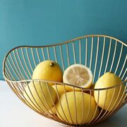 Fruit Bowl Basket Stand Metal Wire Decorative Gold Candy Dish Creative Storage
