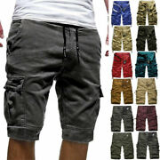 Mens Summer Cargo Shorts Joggers Jogging Military Army Camo Work Pants Trouser