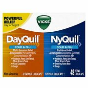 Vicks Dayquil And Nyquil Cold And Flu Combo Liquicaps | 48 Count | Pack Of 12