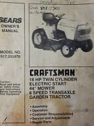 Sears Craftsman 18hp 44 Gear Lawn Garden Tractor Owner And Parts Manual 917.255970