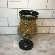 """Partylite Global Fusion Hurricane Mosaic Stained Glass Candle Holder Lamp 9.5"""""""