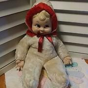Rushton Snow Baby Pink Rubber Face Doll Plush Vintage Red White Rare