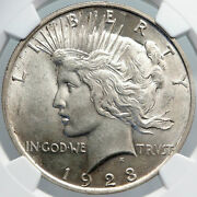 1923 Us Silver Peace Dollar Large United States Coin Liberty And Eagle Ngc I89188