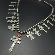 32 Long Leonard James Navajo Hand-stamped Sterling Silver Cross Coral Necklace