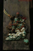 32and039and039 Old China Wood Inlay Wucai Pottery Porcelain Warrior Guangong Wall Hanging