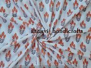 White Cotton Fabric Sold By The Yard Floral Hand Block Print Fabric Indian