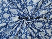 Blue Beautiful Hand Block Printed Fabric Cotton Fabric Indian Fabric By The Yard