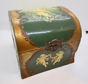 Celluloid Box With Putti - Victorian, Collar, Jewelry, Vintage, Fabric