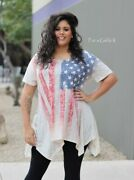 Vocal Womens Plus Size Crystal Taupe American Flag Red Blue Tunic Shirt 1x 2x 3x
