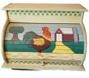 Vintage Roll Top Bread Box Wood Country Kitchen Wooden Large Rooster Free Ship