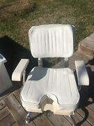 Pompanette Fishing Chair Complete With Quad Base Pedestal Foot Rest And Cushions