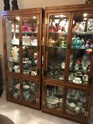 Pair Henredon Campaign Scene One China Cabinet Breakfront Curio Lighted Glass