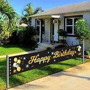 Birthday Banner Outdoor Yard Signs Happy Party Decorations Supplies Black Large