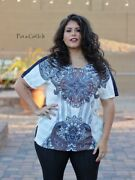 Vocal Womens Plus Size Crystal Multi Sublimation Top Tunic Shirt 1x 2x 3x Usa