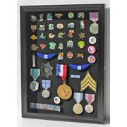 Display Case Cabinet Military Medals Pins Patches Shadow Box Uv Protection Lock