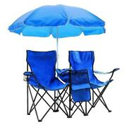 Double Folding Chair With Umbrella Picnic Cooler Camping Beach Table Portable