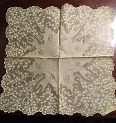 Liliy Of The Valley Vintage Hankerchief Hankie Pale Pastel Yellow Scalloped Edge