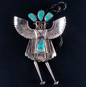Vintage 1970's Sterling Silver Turquoise And Onyx Navajo Eagle Dancer Bolo Tie