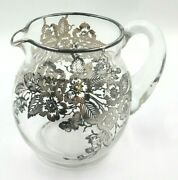 Vintage 4.875 Tall Glass Pitcher With Ice Lip And Floral Designed Silver Overlay