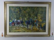 Painting Oil Canvas Landscape Forest Wood Antonio Pecoraro Italy With Expertise