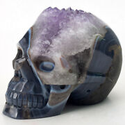 6.8and039and039 Natural Agate Amethyst Geode Carved Crystal Skullsuper Realistic
