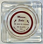 Vintage Marion Sohio Service Gas Station West Manchester Ohio Red Glass Ashtray