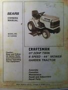 Sears Craftsman 20hp 44 6 Sp Lawn Garden Tractor Owner And Parts Manual 917.254430