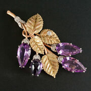 Vintage 1960and039s Custom Made 18k Yellow Gold Amethyst And Diamond Brooch 18.4ctw