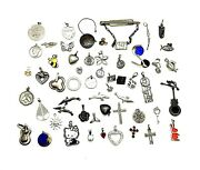 Vintage Antique 925 Sterling Silver 105gr 55cnt Charm And Pendant Jewelry Lot 3194