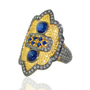 Christmas Gift Sapphire Pave Diamond 14k Gold Ring 925 Sterling Silver Jewelry