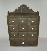 Old Antique Vtg 19th C 1800s Small 10 Drawer Pine Apothecary Cabinet Green Paint