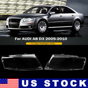 Left And Right Clear Plastic Headlight Lens Cover For Audi A8 D3 2005-2010