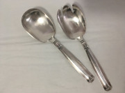 Wands Sorensen Sterling Silver Salad Spoon And Fork Lotus Pattern 146 Grams