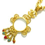 Auth Gold Light Blue Red Hardware Glass Necklace