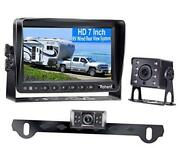 Hd 2 Backup Cameras Kit 7 Inch Monitor Hitch Driving Rear View High-speed