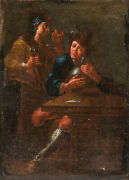 Antique Teniers Adriaen Brouwer Dutch Old Master Oil Painting On Canvas Drinking