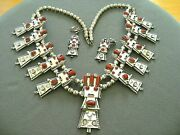 Frank Yazzie Navajo Coral Sterling Silver Kachina Bead Necklace + Earrings
