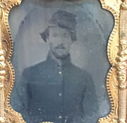 Ambrotype Tintype Photo Civil War Union Soldier Thermoplastic Case